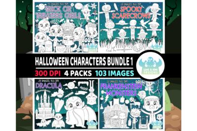 Halloween Characters Digital Stamps Bundle 1