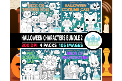 Halloween Characters Digital Stamps Bundle 2