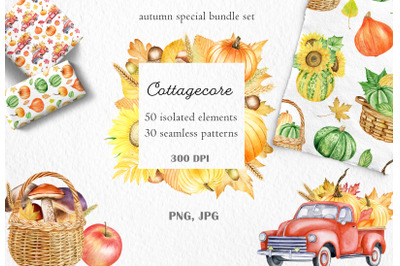 Watercolor Cottagecore autumn clipart and pattern set. Thanksgiving