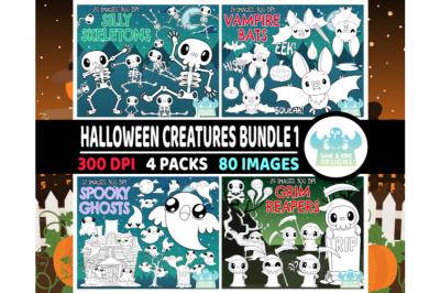 Halloween Creatures Digital Stamps Bundle 1