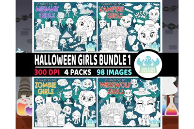 Halloween Girls Digital Stamps Bundle 1