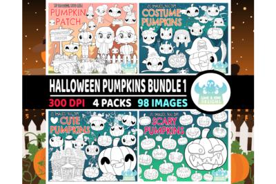 Halloween Pumpkins Digital Stamps Bundle 1