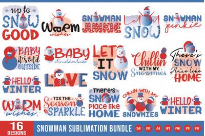 Snowman Sublimation Bundle ( SVG, DXF, EPS, PNG, AI, JPG, PDF )
