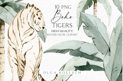 Watercolor boho tropical clipart, Tigers clipart, Wild animals - tiger png and palm clipart for wedding invitations, baby shower, poster
