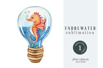 Watercolor underwater nautical sublimation