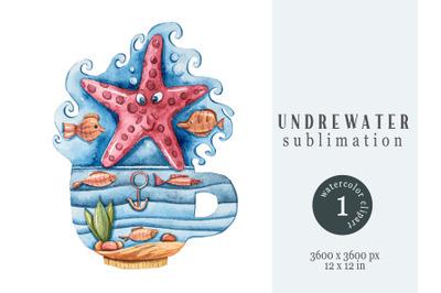 Watercolor underwater magic starfish sublimation