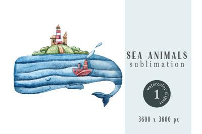 Watercolor nautical sperm whale sublimation- 1 png file