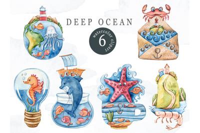 Watercolor nautical sea animal clipart