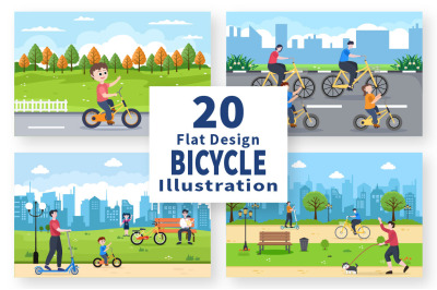 20 Bicycle and Scooter Sport Flat Illustration