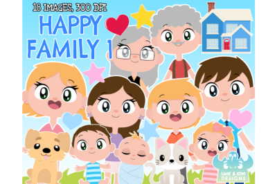Happy Family 1 Clipart - Lime and Kiwi Designs