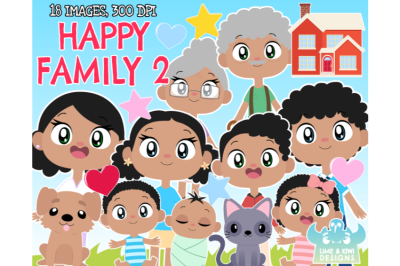 Happy Family 2 Clipart - Lime and Kiwi Designs
