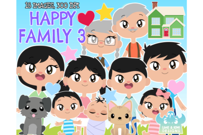 Happy Family 3 Clipart - Lime and Kiwi Designs