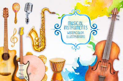 Musical instruments. Watercolor illustrations.