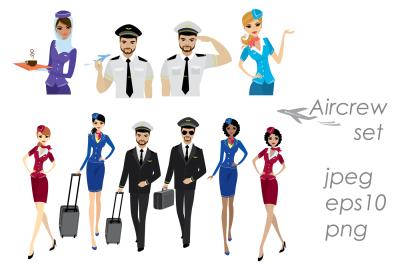 Set Of Aircraft Crew