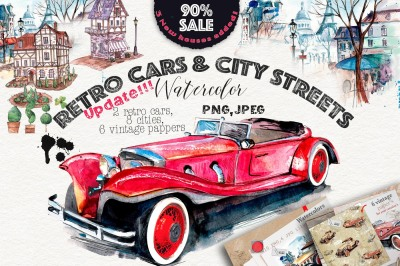 SALE!!!Retro cars & city streets