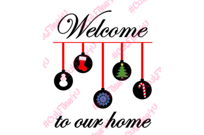 Welcome Christmas Ornaments SVG PNG Snowman Stocking