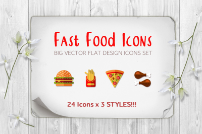 BIG Fast Food Icons Set 24x3