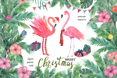Watercolor Tropical Christmas