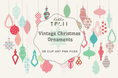 Vintage Christmas Ornaments Clip Art