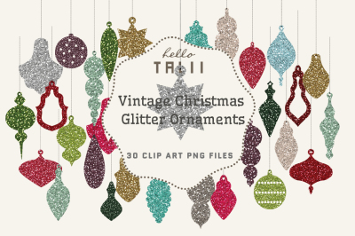 CHRISTMAS GLITTER ORNAMENTS CLIP ART