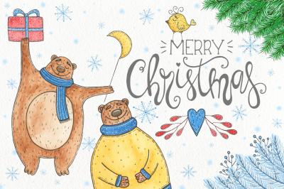 Watercolor Christmas bear