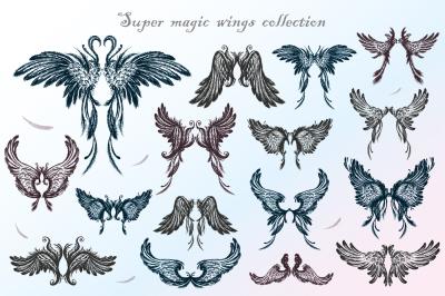 Big set of angel wings,hand drawn