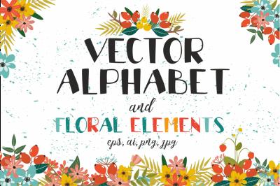 Vectot alphabet and floral elements
