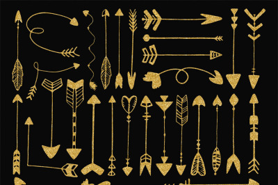 Gold glitter tribal arrows clip art
