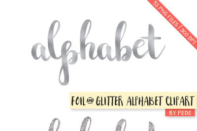 Silver glitter and foil alphabet clipart