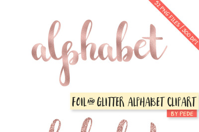 Rose gold foil & glitter alphabet clipart