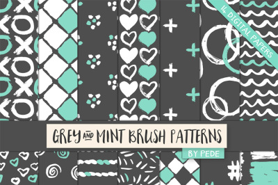 Grey and mint digital papers