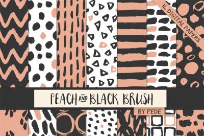 Peach & black digital paper pack