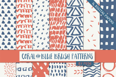 Coral and blue digital papers