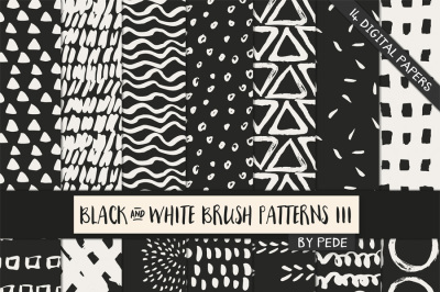 Black and white brush patterns III