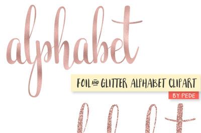 Rose gold foil & glitter alphabet clipart