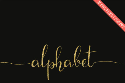 Gold glitter alphabet clipart, golden letters with swasches