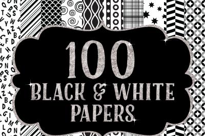 100 Black and White Digital Paper Patterns Bundle