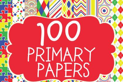 100 Primary Digital Paper Patterns Bundle