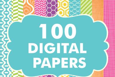 100 Digital Papers Bundle Set 2