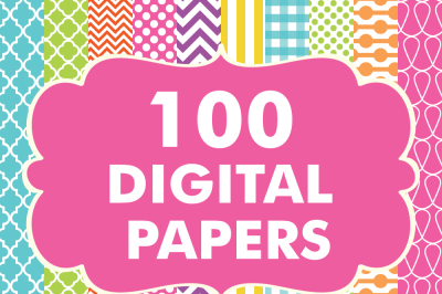 100 Digital Paper Patterns Bundle