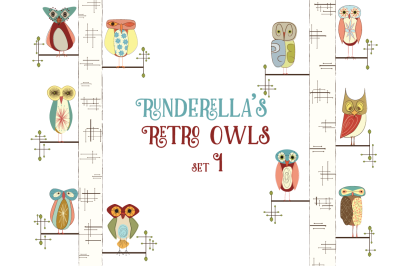 Runderella's Retro Owls--Set 1 (Editable Vector Files)