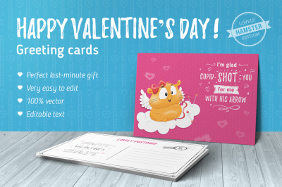 70 Valentine's Day greeting cards vol.1 - Hamster edition