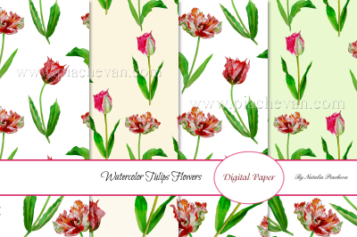 Spring Tulips. 8 Patterns