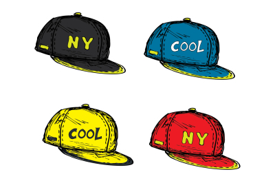 set of realistic baseball cap in different colors