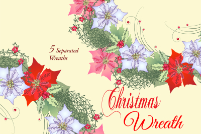 Christmas Wreaths with Poinsettia