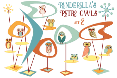 Runderella's Retro Owls--Set 2 (Editable Vector Files)