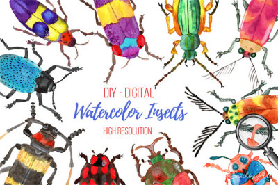 Set of Watercolor Whimsical Insects - digital clip art