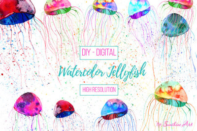 Watercolor Jellyfish - digital clip art