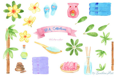 Set of Watercolor SPA Design Elements - Digital Clip Art
