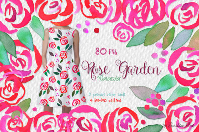 Rose Garden – Watercolor Clip Art